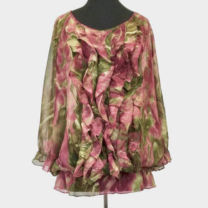 Anne Klein Floral Print Blouson Top